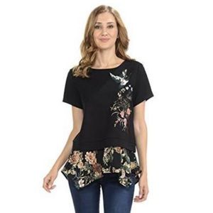 Anthropology W5 Black Embroidered Floral Shirt